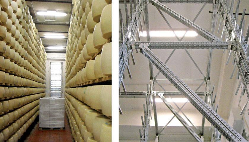 scaffalature industriale stoccaggio formaggio