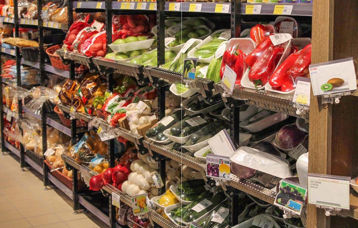 scaffali metallici espositori per supermercati